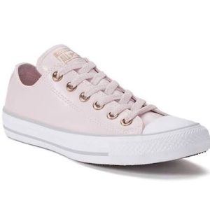 Converse pink synthetic leather low top sneakers